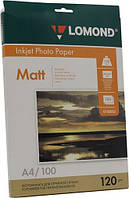 Фотобумага Lomond А4 матовая односторонняя 120 гр,100 листов