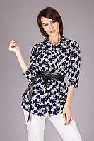 Блуза-рубашка с поясом из эко-кожи
