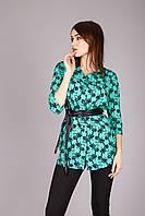 Блуза-рубашка из натуральной ткани с модным принтом