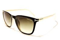 Очки солнцезащитные женские Tom Ford 0393 C3 SM 02953, очки вайфареры коричневые с бежевыми дужками