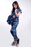 """Детский стильный костюм-тройка """"Эластан Джинс Подросток"""" в расцветках"""