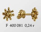 Серьги гвозди серебряные Вирус F 400 081, фото 2