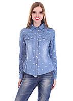 Джинсовая рубашка с потертостями
