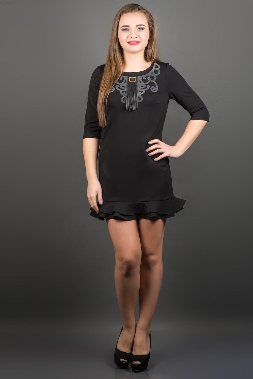 Элегантное платье КУРАЖ (черный)