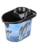 Ведро с отжимом Elif 381 дельфины