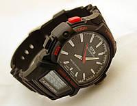 Часы мужские O.T.S. - dual screen, стальной бокс, черный браслет, tough solar