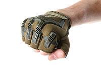 Тактические перчатки короткопалые Mechanix M-Pact Olive (Олива)