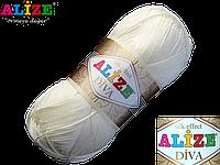 Пряжа Alize Diva 01 молочный