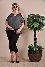 Летняя блуза больших размеров 0234 черно-белая 48-74, фото 2