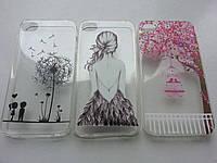 Силиконовые чехлы для Iphone 4/4S прозрачные с рисунком