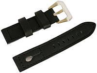 Ремешок кожаный Banda (Италия) для наручных часов с классической застежкой, черный, 20 мм