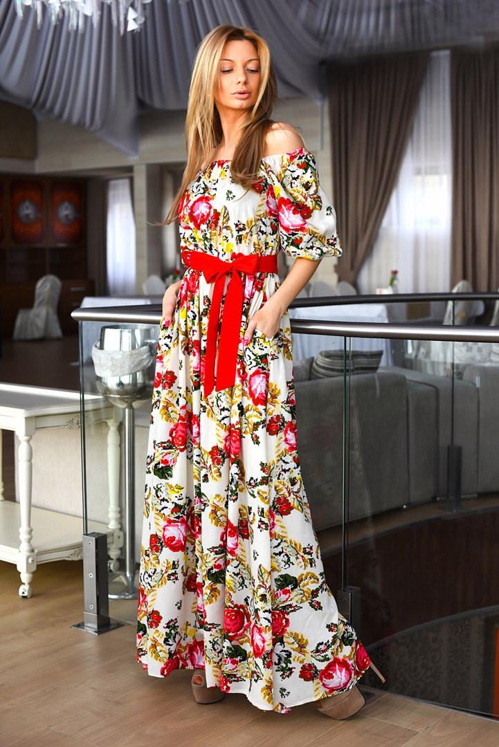 Платье в пол на плечах купить