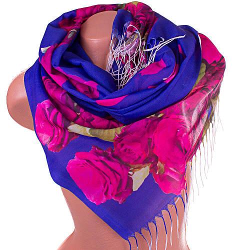 Яркий женский шарф хлопковый 172*69 см SOFTEL (СОФТЕЛ) SAT17424, синий