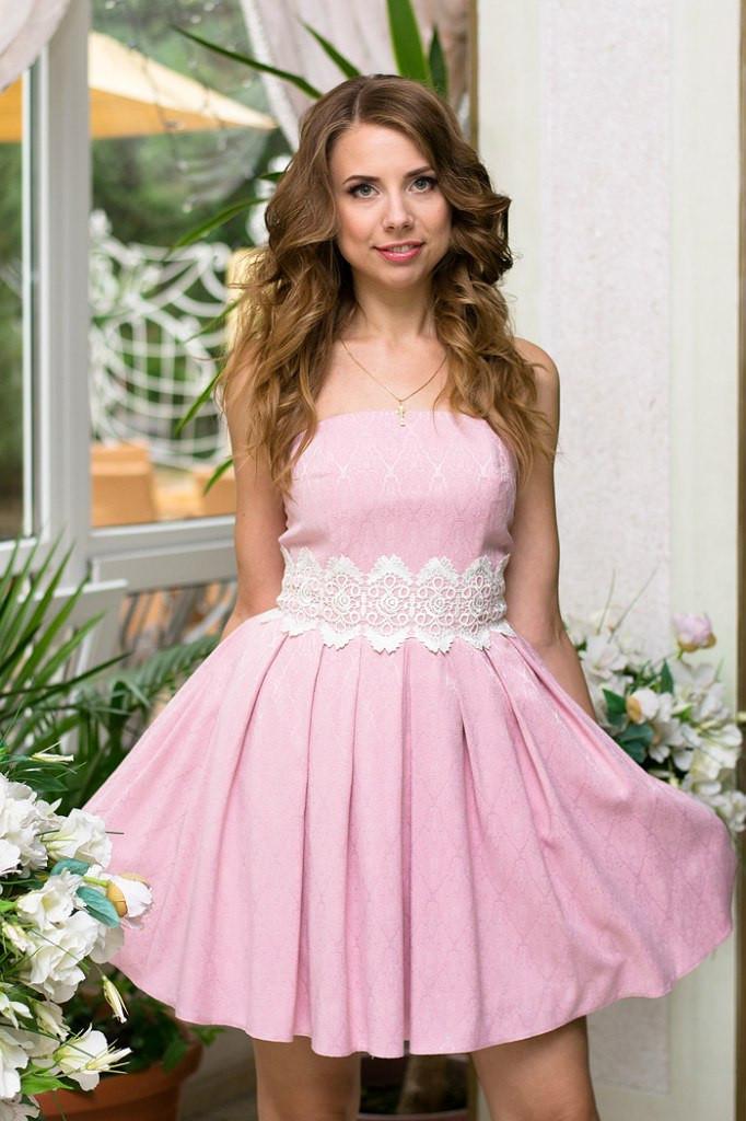 Платье розовое с пышной юбкой купить