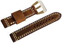 Ремешок кожаный Banda (Италия) для наручных часов с классической застежкой, коричневый, 18 мм