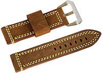 Ремешок кожаный Banda (Италия) для наручных часов с классической застежкой, коричневый, 24 мм