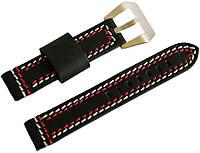 Ремешок кожаный Banda (Италия) для наручных часов с классической застежкой, черный, 18 мм