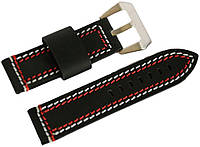 Ремешок кожаный Banda (Италия) для наручных часов с классической застежкой, черный, 22 мм