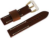 Ремешок кожаный Banda (Италия) для наручных часов с классической застежкой, коричневый, 22 мм