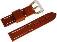 Ремінець шкіряний Banda (Італія) для наручних годинників з класичною застібкою, коричневий, 22 мм