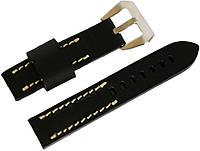 Ремінець шкіряний Banda (Італія) для наручних годинників з класичною застібкою, чорний, 22 мм