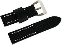 Ремешок кожаный Banda (Италия) для наручных часов с классической застежкой, черный, 24 мм