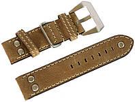 Ремешок кожаный Banda (Италия) для наручных часов с классической застежкой, бежевый, 22 мм
