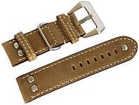 Ремешок кожаный Banda (Италия) для наручных часов с классической застежкой, бежевый, 24 мм