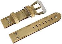 Ремешок кожаный Banda (Италия) для наручных часов с классической застежкой, бежевый, 20 мм