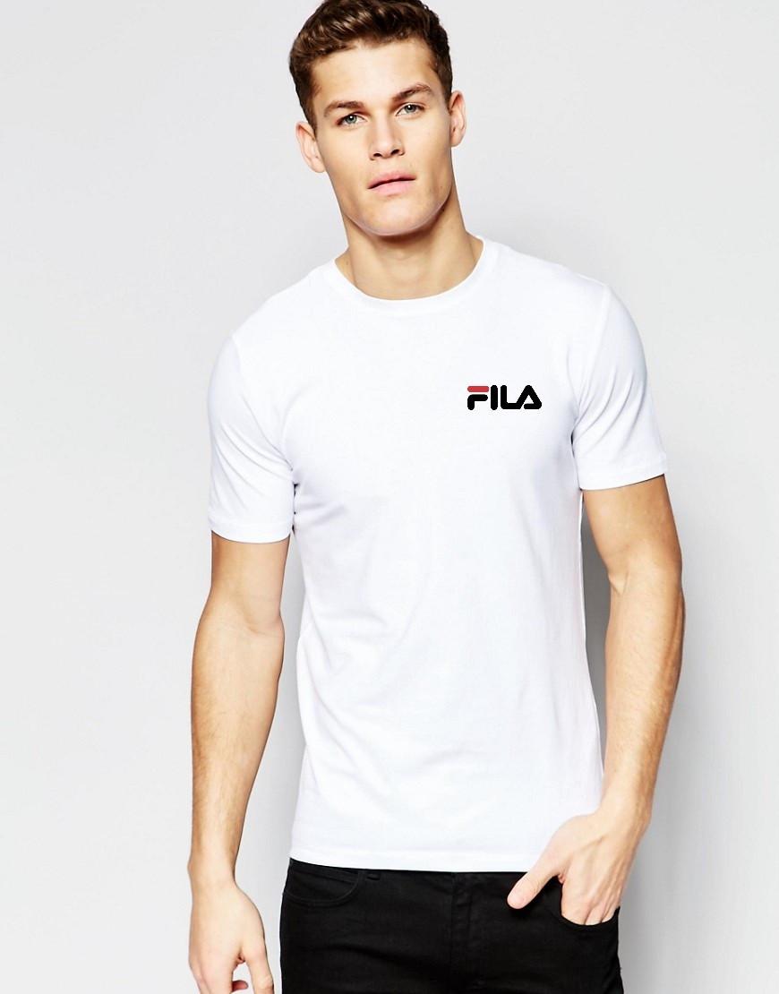 Мужская футболка FILA белая маленький принт
