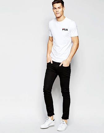 Мужская футболка FILA белая маленький принт, фото 2