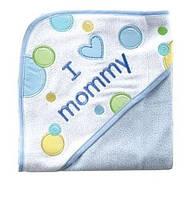 Полотенце с уголком голубое I love mommy Luvable Friends, 71х71см