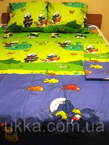 Детское постельное белье полуторное комплект Смурфики подростковый бязь
