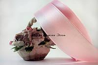 Лента атласная 2.5см светло розовая