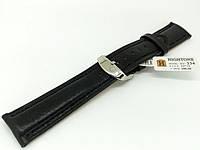 Ремешок кожаный Hightone для наручных часов с классической застежкой, черный, 20 мм, фото 1