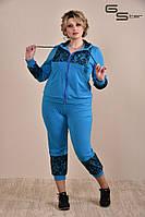 Модный женский спортивный костюм с капри батал с 50 по  74 размер