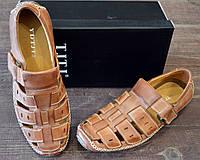 Летние мужские туфли из натуральной кожи с ветниляцией TJTJ