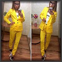 Женский деловой костюм габардиновый Желтый