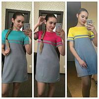 Платье летнее короткое трикотажное прямого кроя в разных цветах SMN164