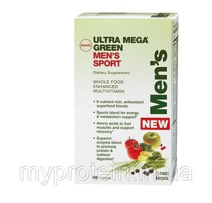 GNC Витамины мужские Ultra Mega Green Mens Sport (60 caps)