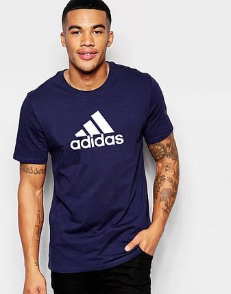 """Мужская футболка """"Adidas"""" т.синяя, фото 2"""
