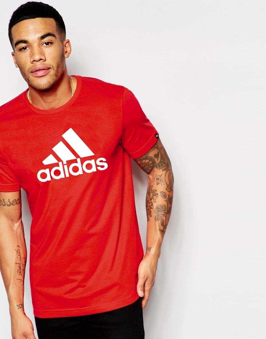 """Мужская футболка """"Adidas"""" Адидас красная с белым принтом"""