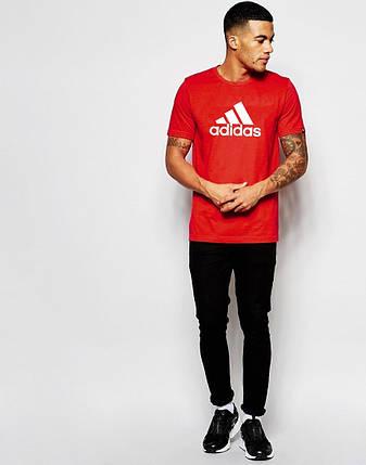"""Мужская футболка """"Adidas"""" Адидас красная с белым принтом , фото 2"""
