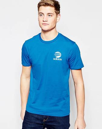 Мужская футболка Adidas синяя с принтом, фото 2