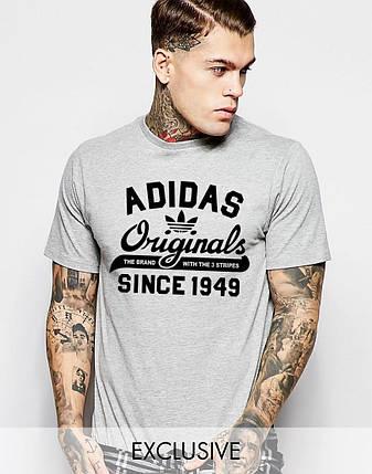 """Мужская футболка """"Adidas Original"""" Адидас серая с черным принтом, фото 2"""