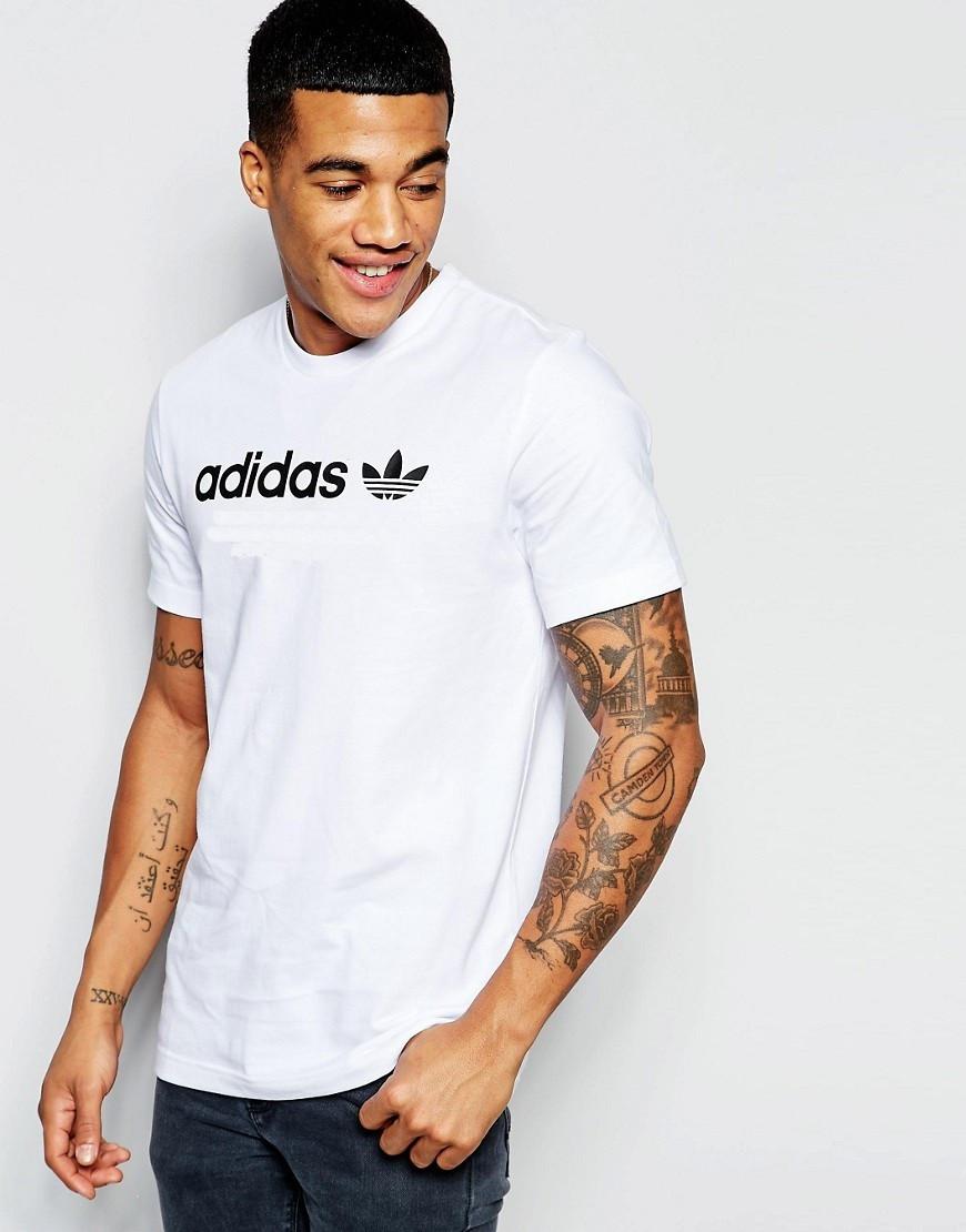 """Мужская футболка """"Adidas"""" белая с черным принтом"""