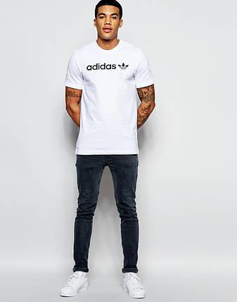 """Мужская футболка """"Adidas"""" белая с черным принтом, фото 2"""