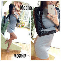 Платье трикотажное мини со вставками из экокожи SMM167