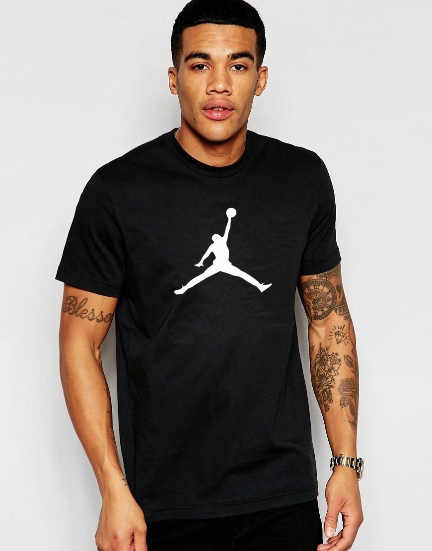 Мужская футболка Jordan черная с белым принтом