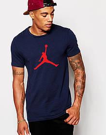 Мужская футболка Jordan т.синяя (красный принт)